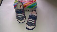 NWB See Kai Run Kristin Blue with Pink Polka Dots Canvas Sneakers Size 8 9