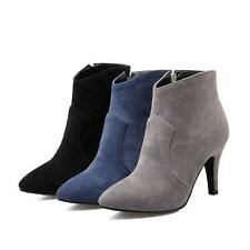 Womens Faux Suede Pointed Toes Pump Shoes High Heels Zip Up Ankle Boots AU Size