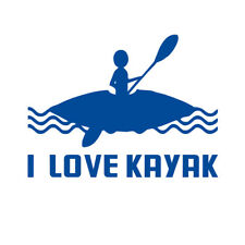 I LOVE KAYAK Sticker Decals Decor for Kayak Canoe Boat Graphics Accessory
