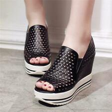 Womens Genuine Leather Platform Wedges Fashion Sneakers Peep Toe Gothic Sandals