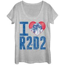 Womans: Star Wars- R2-D2 Love Scoop Neck Ladies T-Shirt Grey New Shirt