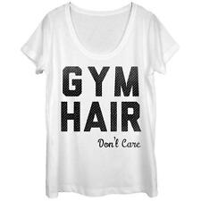 Womans: Gym Hair Scoop Neck Ladies T-Shirt White New Shirt
