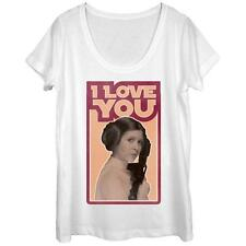 Womans: Star Wars- Leia Love Scoop Neck Ladies T-Shirt White New Shirt