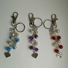 SALE Blue Star / Purple Heart / Red Flower Glass Bead Mother Keyring Bag Charm