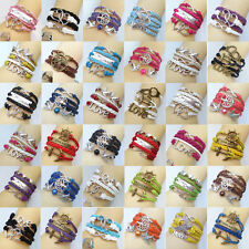 Fashion Silver Jewelry Leather Cute Infinity Charm Bracelet YOU pick Style !NEW