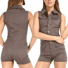 Womens Ladies Buttons Denim Shorts Pockets Collared Dungaree Jumpsuit Playsuit