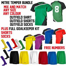 Mitre TEMPER Team Football Strips Kits Bundle sizes, Free Numbers
