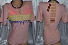 CERES Pink Embroidered Aztec open back V neck Short Sleeve Top Sz S M L NWT