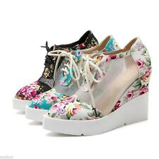 Womens Wedge Heel Floral Printed Sandals Lace-up Platform Pumps Pointy Toe Shoes