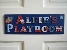 CHILDRENS WOODEN NAME PLAQUE hand painted personalised door/wall signs 2 WORDS