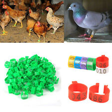 100Pcs/Bag 16mm Clip On Leg Rings Number 001-100 for Chickens Ducks Hens Poultry
