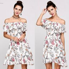Sleeveless Off The Shoulder Collar Print Ruffles A-Line Back Zipper White Dress