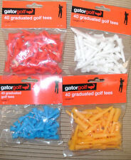 NEW GOLF TEES - GRADUATED, PLASTIC, WOODEN - WHITE, BLUE, RED - 15, 20, 40, 60