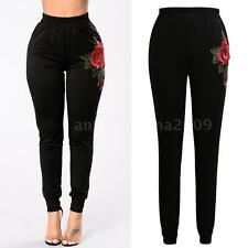 Womens Long Casual Pants Slim Floral Embroidery Elastic High Waist Trousers M0Z5