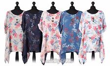 New Ladies Italian Floral Print Linen Top Women Summer Tunic Top Plus Size