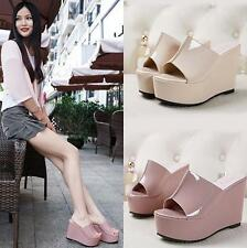 Womens Peep Toe Sandals High Platform Wedge High heel Slippers Shoes Pump Mules