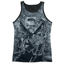 Superman Breaking Free Mens Tank Top Sublimation Black Back Shirt WHITE