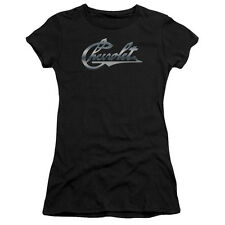 Chevy Chrome Vintage Chevy Bowtie Juniors Short Sleeve Shirt Black