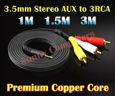 3.5mm Stereo AUX to 3 RCA 3RCA AV Audio Video DVD HDTV HD Camcorder Cord Cable