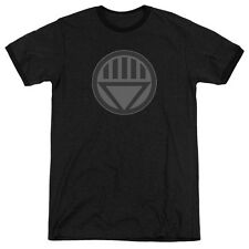 Green Lantern Black Symbol Mens Adult Heather Ringer Shirt Black