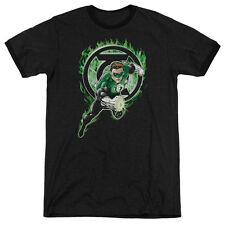 Green Lantern Space Cop Mens Adult Heather Ringer Shirt Black