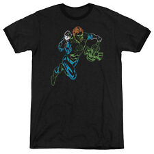 Green Lantern Neon Lantern Mens Adult Heather Ringer Shirt Black