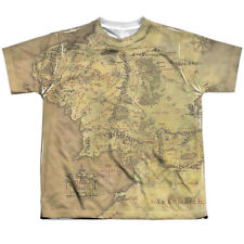 The Lord of the Rings Middle Earth Map (Front Back Print) Big Boys Youth Shirt