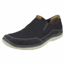Clarks Mens Ripton Free Blue Canvas Slip On Shoes G Fit UK8-10.5 (R27B)