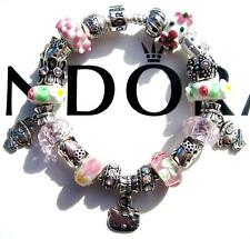 PANDORA Sterling Silver CHARM Bracelet HELLO KITTY with Murano Beads CC24