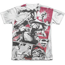 Superman Angry Red Mens Sublimation Poly Cotton Shirt