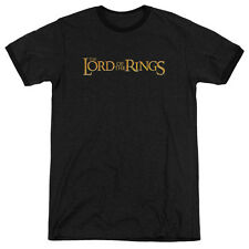 The Lord of the Rings Lotr Logo Mens Adult Heather Ringer Shirt Black