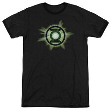 Green Lantern Green Glow Mens Adult Heather Ringer Shirt Black