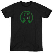 DC Comics Green Lantern Symbol Knockout Mens Adult Heather Ringer Shirt Black