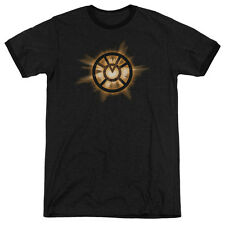 Green Lantern Orange Glow Mens Adult Heather Ringer Shirt Black