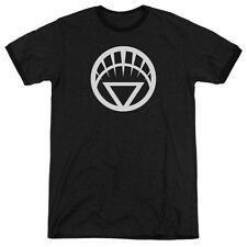 Green Lantern White Emblem Mens Adult Heather Ringer Shirt Black