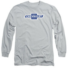 Chevy Vintage White Border Bowtie Mens Long Sleeve Shirt Silver