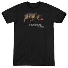 Harry Potter Burning Hogwarts Adult Heather Ringer Shirt