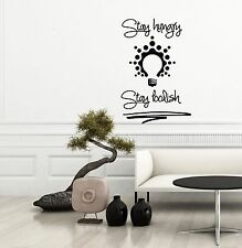 Stay Hungry Stay Foolish Quote Wall Decal Bulb Vinyl Sticker Home Decor Dorm ML9