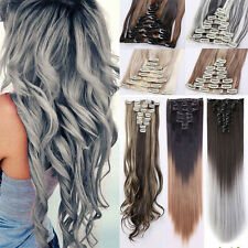 100% Real Natural as human Hair 8Pcs Full Head Clip In Hair Extensions OMBRE F32