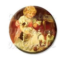 "2.25"" Pocket Mirror, Magnet, Pin Vintage Art Puppy Tea Time Dog Lovers Victorian"
