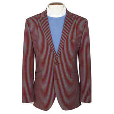New Mens Brook Taverner Ramsey Tailored Stripe Jacket - Cherry/Grey -Choose Size