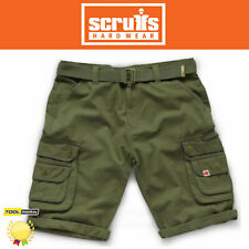 Scruffs Mens Cargo Shorts + Belt Khaki Green /Charcoal | Work Combat Trade Short
