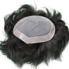 Professional 100% human hair mens black brown toupee hair system hairpiece