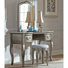 Girls Makeup Station Vanity Table for Desk Set with Drawers Stool Lighted Mirror