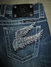 MISS ME Boot Cut Angel Wing JP5163b4 Stretch Blue Denim Jeans Women Size 26 x 34