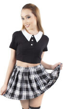 Killstar Addams Crop Top Gothic Wednesday Goth Punk Black Shirt Blouse Peter Pan