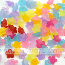 50/100pcs Mixed Colors Flowers Shape Acrylic Loose Spacer Beads 4x9mm