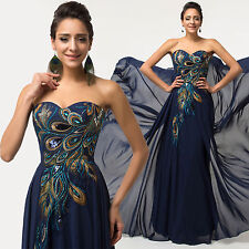 Women Peacock Formal Evening Gown Prom Party Chiffon Bridesmaid Dress Plus Size