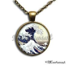 Handmade Glass Dome Bezel Pendant Necklace The Great Wave off Kanagawa AP118