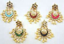 CHOOSE ANY COLOR KUNDAN PEARL MEENA GOLD TONE INDIAN BOLLYWOOD EARRINGS JEWELRY